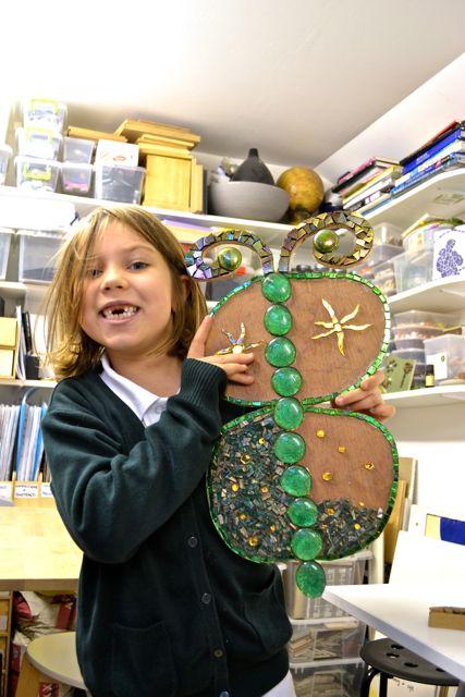 Children making mosaics