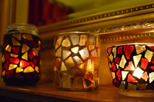 mosaic tea lights, mosaic candle holder