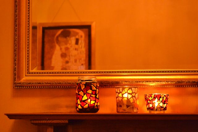 mosaic canldes and tealights