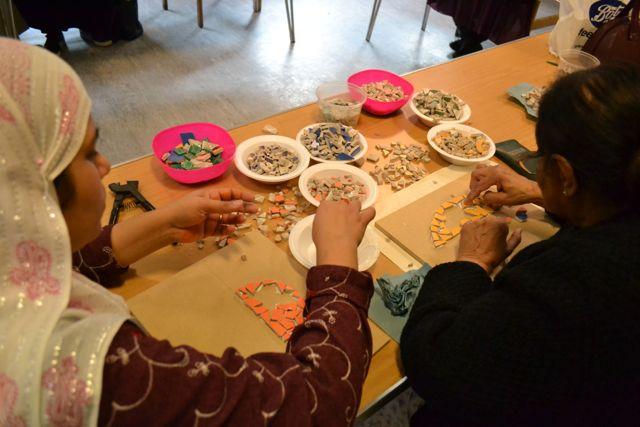 community mosaic art workshop in action London
